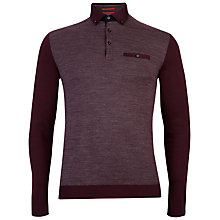 Buy Ted Baker Minya Jacquard Front Long Sleeve Polo Shirt, Red Online at johnlewis.com