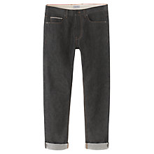 Buy Jigsaw Garment Dye Cotton Slim Jeans, Black Online at johnlewis.com