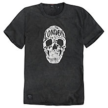 Buy Pepe Jeans Andy Warhol Skull Print T-Shirt, Washed Black Online at johnlewis.com