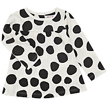 Buy John Lewis Baby Big Spot Dress, Cream/Black Online at johnlewis.com
