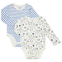 Buy John Lewis Baby Cats Stripe Bodysuit, Pack of 2, Cream/Blue Online at johnlewis.com
