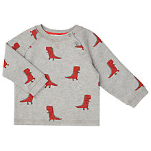 Buy John Lewis Baby Dinosaur Print Jumper, Grey Marl Online at johnlewis.com