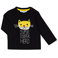 Buy John Lewis Baby Super Duper Hero Top, Black Online at johnlewis.com
