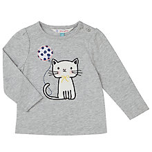 Buy John Lewis Baby Long Sleeve Cat T-Shirt, Grey Online at johnlewis.com
