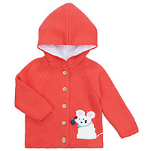 Buy John Lewis Baby Mouse Hooded Cardigan, Pink Online at johnlewis.com