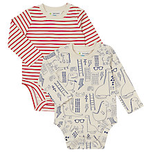 Buy John Lewis Baby Dinosaur And Stripe Bodysuit, Pack of 2, Red/Blue Online at johnlewis.com