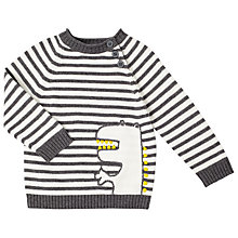 Buy John Lewis Dino Stripe Jumper, Grey Online at johnlewis.com
