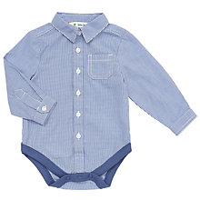 Buy John Lewis Baby's Check Shirt Bodysuit, Blue/White Online at johnlewis.com