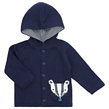 Buy John Lewis Baby Badger Hooded Cardigan, Navy Online at johnlewis.com