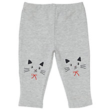 Buy John Lewis Baby Cat Knee Print Leggings, Grey Online at johnlewis.com