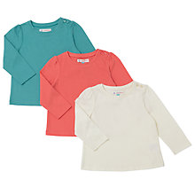 Buy John Lewis Baby T-Shirt, Pack of 3, Green/Orange Online at johnlewis.com