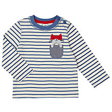 Buy John Lewis Baby Cat Pocket T-Shirt, Navy/White Online at johnlewis.com