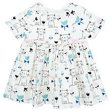 Buy John Lewis Baby Short Sleeve Cat Poplin Dress, Cream Online at johnlewis.com