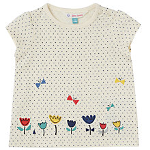 Buy John Lewis Baby Spot Flower Applique Top, White Online at johnlewis.com