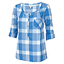Buy Fat Face Newbury Buffalo Check Popover Blouse, Dark Chambray Online at johnlewis.com