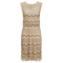 Buy Adrianna Papell Short Blouson Beaded Dress, Beige Online at johnlewis.com