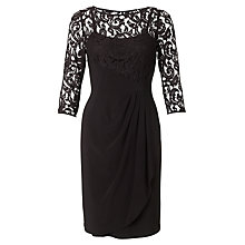 Buy Adrianna Papell Rose Flounce Lace Detail Dress, Black Online at johnlewis.com