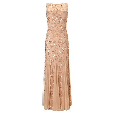 Ariella Karla Sequin and Bead Gown, Blush