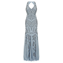 Buy Adrianna Papell Long Beaded Dress, Sky Blue Online at johnlewis.com