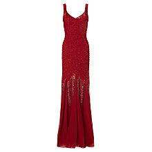 Buy Ariella Serafina Bead and Sequin Long Dress, Red Online at johnlewis.com