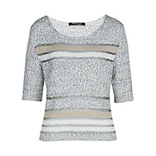 Buy Betty Barclay Contrast Stripe Jumper, Silver / Cream Online at johnlewis.com