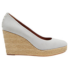 Buy Mint Velvet Millie Leather High Heeled Wedges, Grey Online at johnlewis.com