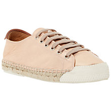 Buy Dune Black Frankie Lace Up Leather Espadrilles, Rose Gold Online at johnlewis.com
