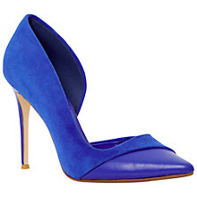 Buy Dune Dorsay Suede Pointed Cut Out Court Shoes, Blue Online at johnlewis.com