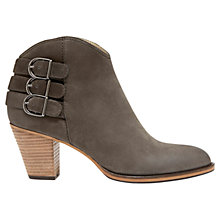 Buy Mint Velvet Stella Stacked Heel Ankle Boots, Grey Leather Online at johnlewis.com