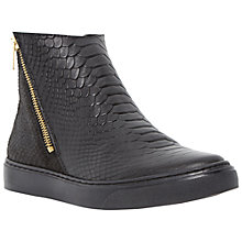 Buy Dune Paddo Leather Ankle Boots, Black Online at johnlewis.com
