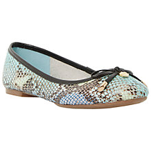 Buy Dune Malmo Flat Bow Detail Ballerina Pumps, Blue Reptile Online at johnlewis.com