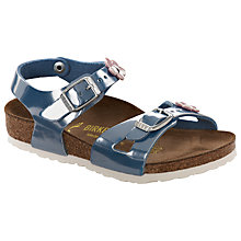 Buy Birkenstock Rio Flower Sandals, Pearly Azzuro Online at johnlewis.com
