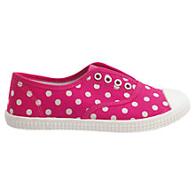 Buy Cath Kidston Mini Spot Canvas Shoes, Raspberry Online at johnlewis.com