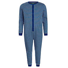 Buy John Lewis Boy Striped Onesie, Grey/Blue Online at johnlewis.com