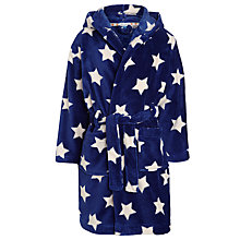 Buy John Lewis Boys' Star Print Fleece Robe, Navy/White Online at johnlewis.com