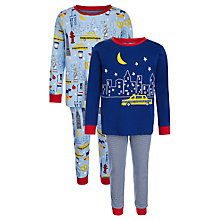 Buy John Lewis Boys' New York Glow Pyjamas, Pack of 2, Blue/Multi Online at johnlewis.com