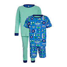 Buy John Lewis Boy Record Print Pyjama, Pack of 2, Blue/Green Online at johnlewis.com