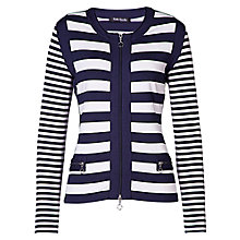 Buy Betty Barclay Stripe Zip Front Cardigan, Dark Blue/Cream Online at johnlewis.com