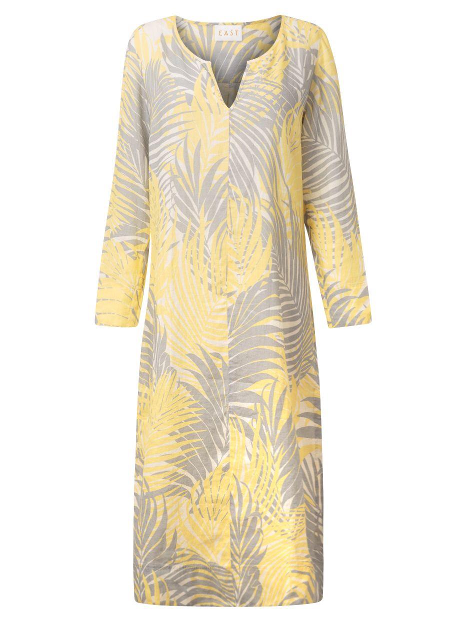 east palm leaf print linen kaftan lemon, east, palm, leaf, print, linen, kaftan, lemon, 10|20|14|8|12|16|18, women, womens dresses, womens holiday shop, beach bound, 1843347