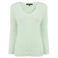 Buy Warehouse Eyelash V-Neck Jumper, Light Green Online at johnlewis.com