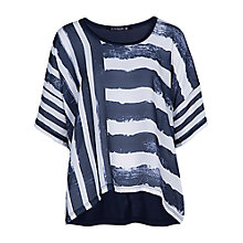 Buy Betty Barclay Round Neck Mixed Stripe Top, Dark Blue / White Online at johnlewis.com
