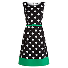 Buy Precis Petite Spot Print Prom Dress, Black Online at johnlewis.com