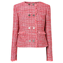 Buy L.K. Bennett Orson Double-Breasted Tweed Jacket, Pink Online at johnlewis.com