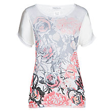 Buy Betty Barclay Floral Print Linen T-Shirt, White/Apricot Online at johnlewis.com