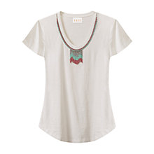 Buy East Beaded Neck Jersey Top, White Online at johnlewis.com