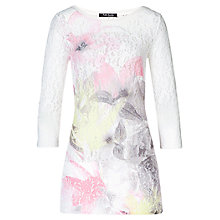 Buy Betty Barclay Floral Lace Longline T-Shirt, Cream / Grey Online at johnlewis.com
