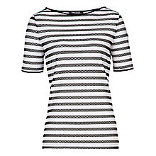 Buy Betty Barclay Short Sleeve Round Neck Top, White / Black Online at johnlewis.com