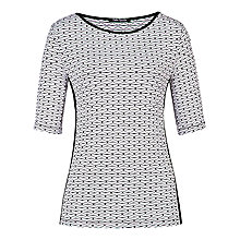 Buy Betty Barclay Round Neck Top, White / Black Online at johnlewis.com