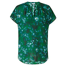 Buy Jigsaw Silk Sleeve Top, Green Online at johnlewis.com