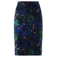 Buy Jigsaw Wood Block Pencil Skirt, Blue Online at johnlewis.com